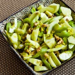 green apples, celery & walnut. add craisins next time for color.
