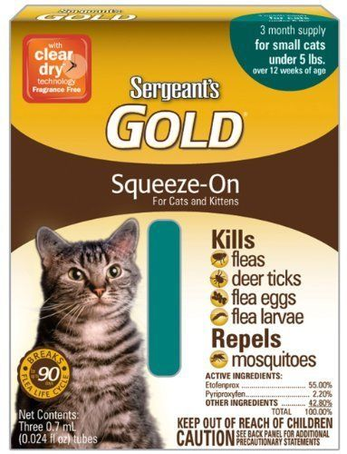 Sergeant S Gold Flea And Tick Squeeze On Cat Under 5 Pound Pack