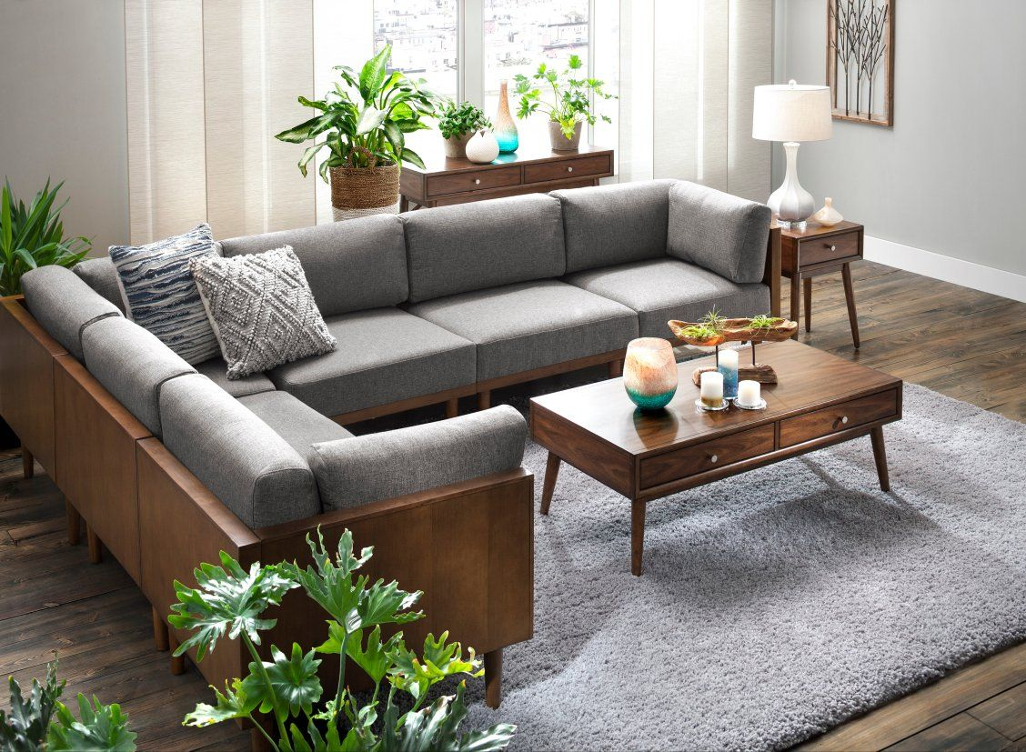 Mid Century Modern Design Truly Shines With The Soto 6 Piece Modular Sectional Sofa Its Low Back Wooden Sofa Designs Sofa Table Decor Living Room Sofa Design