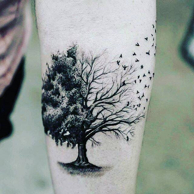 Tatuaje De Un árbol Con Aves Tattoo Pinterest
