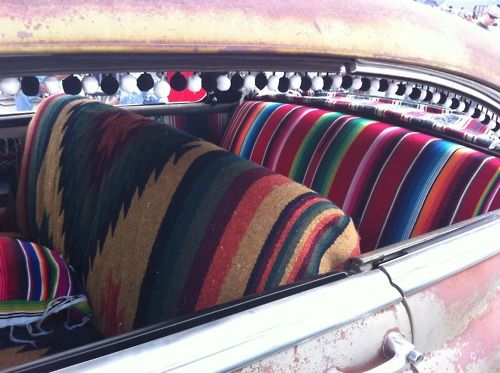 Mexican Blanket Seats And Pom Pom Window Fringe