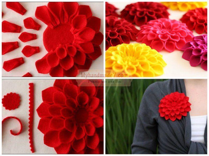 Шаблон цветов из фетра своими руками 729