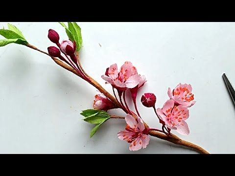 Diy How To Make Cherry Blossom Flower By Crepe Paper Lam Hoa Anh đao Handmade Flowers Paper Paper Flowers Crepe Paper
