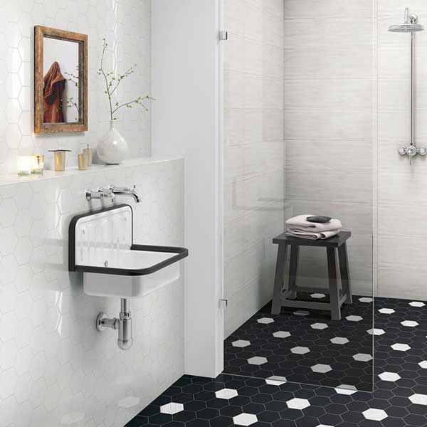 Black And White Mid Size Hex Tile. A Modern Take On The Black Dot Tiles