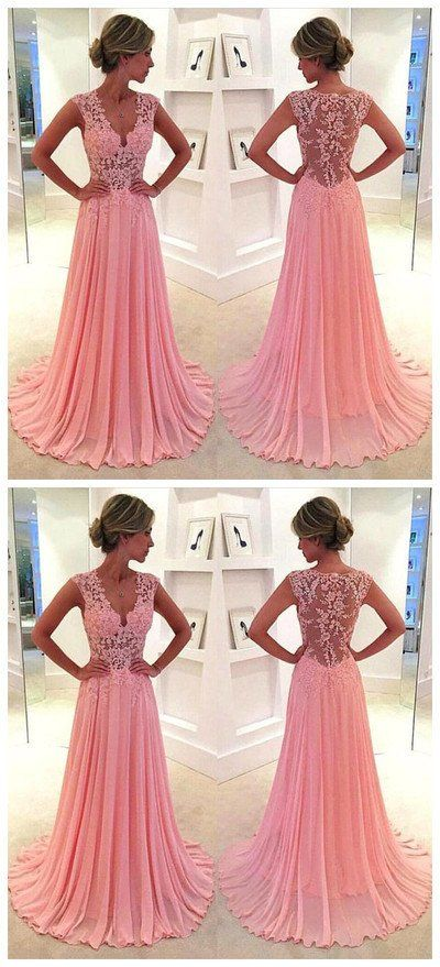 Gorgeous Pink Lace Long Sweetheart Cap Sleeve A-Line Beads Chiffon ...