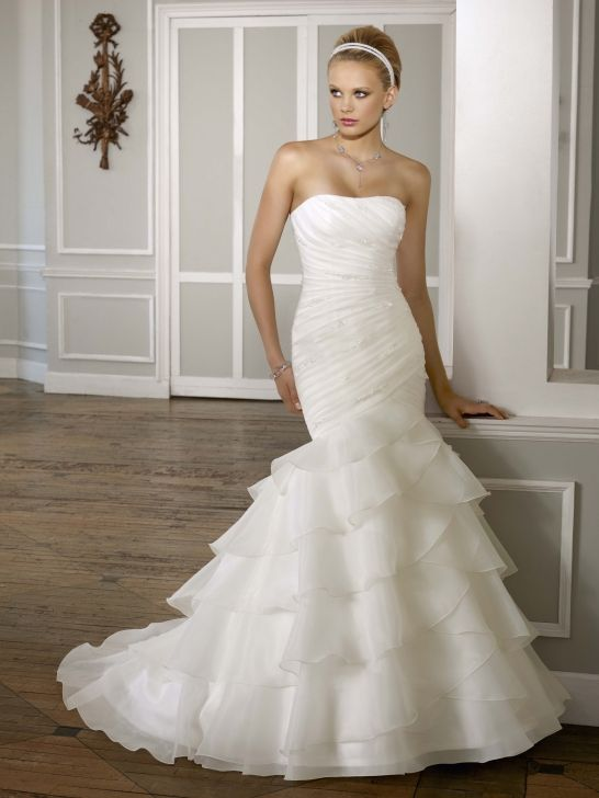 Simple Fashionable Organza Strapless Layered Mermaid Wedding Dress ...