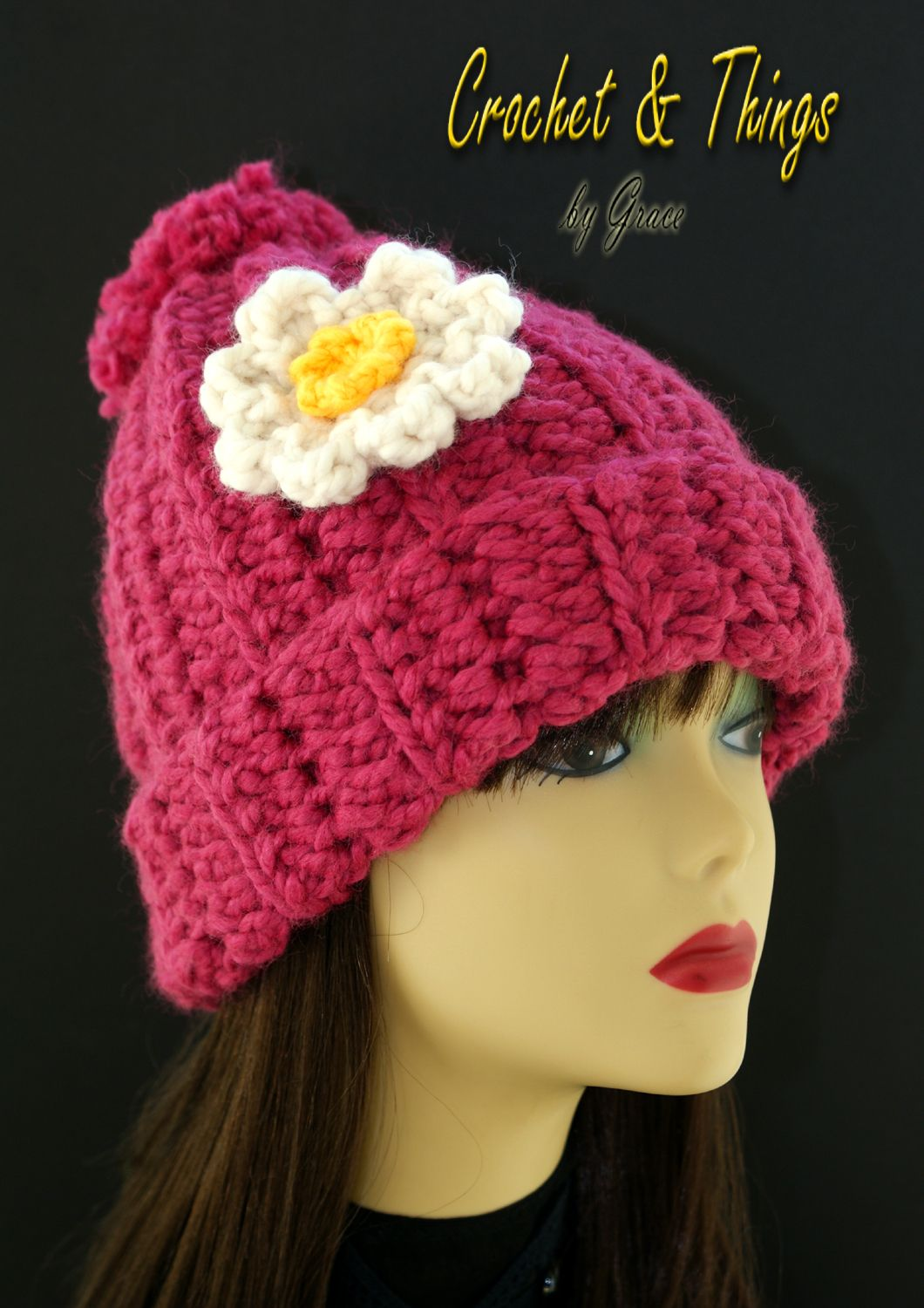 Beanie hat w/ flower applique in raspberry color