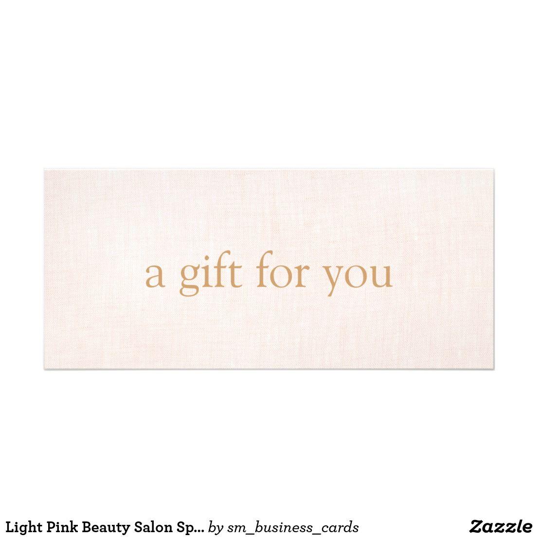 Light Pink Beauty Salon Spa Gift Certificate Gift Certificates