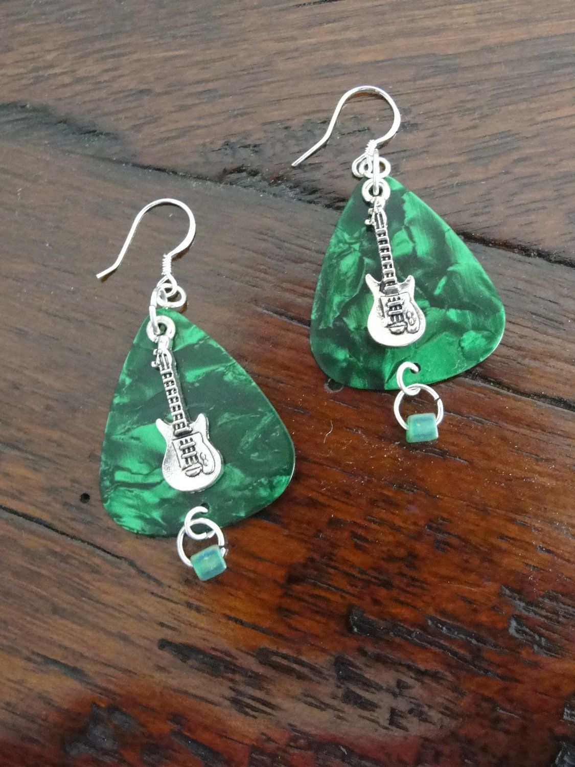 Green Guitar Pick Earrings With Sterling Silver Guitar