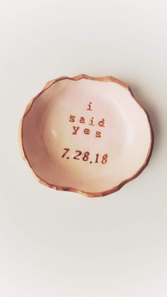 """Personalized Date """"i said yes"""" Blush Pink Rose Gold Jewelry Dish Gift   Engagement Ring Dish Gift  """