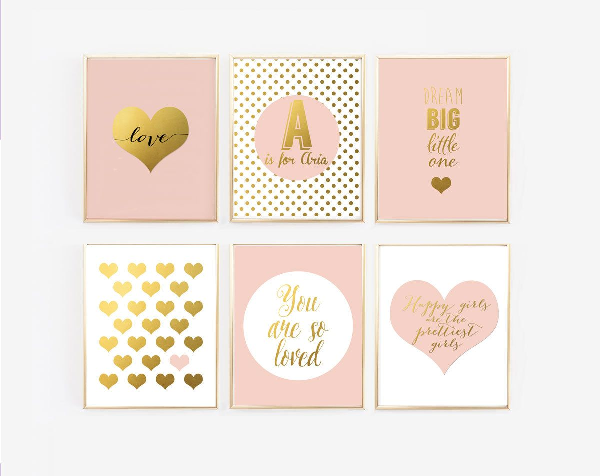 Blush And Gold Prints With Personalized Name Set Of 6 Nursery Gallery Wall