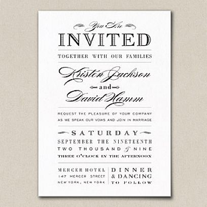 Love The Typography Use In This Invitation Simple Wedding Invitation Wording Wedding Invitation Wording Examples Informal Wedding Invitations