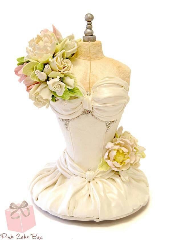 Pink Cake Box.  Amazing wedding dress cake with flowers.