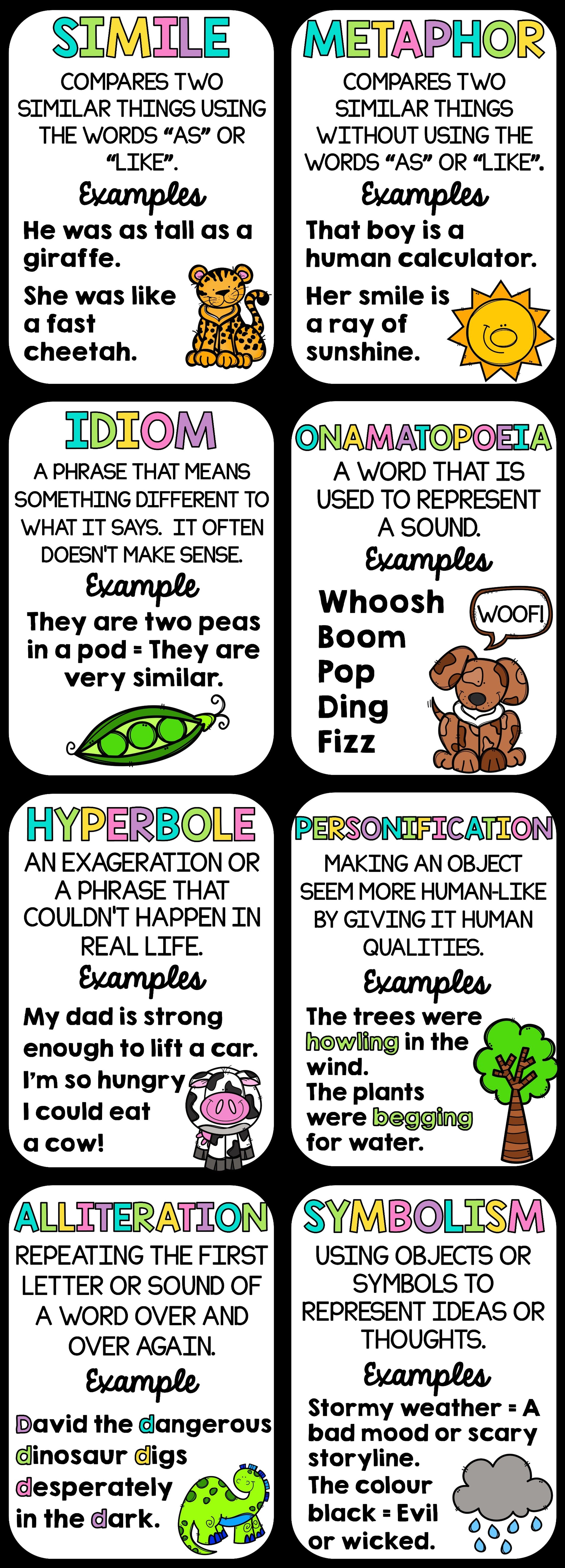 Literary Terms Mini Quote Poster Set featuring Alliteration ...
