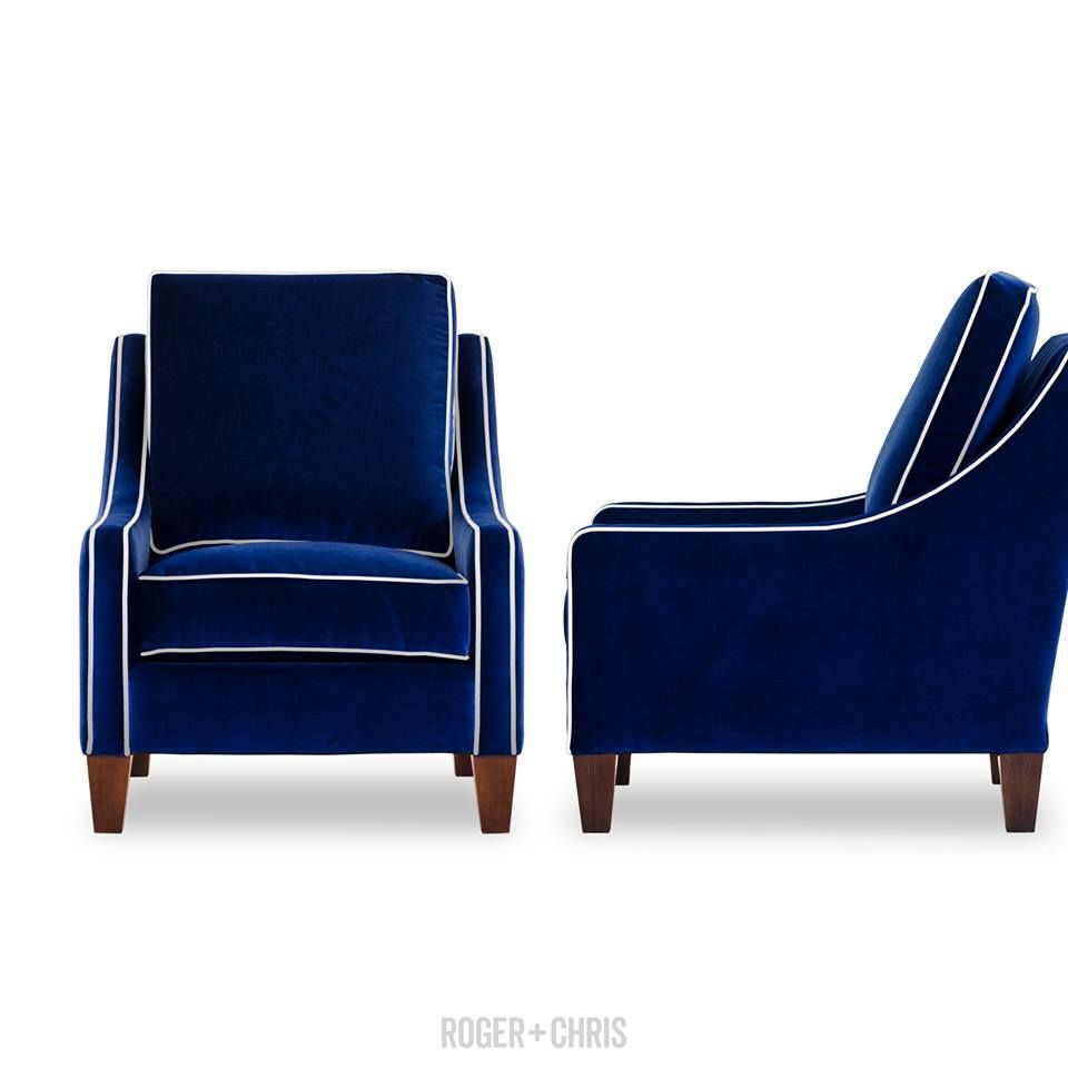 Awesome Gracie Armchair And Sofa In Blue With White Piping By Roger Dailytribune Chair Design For Home Dailytribuneorg