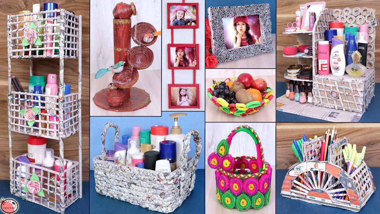 10 Newspaper Craft !!! All DIY Organizer & Home Decor