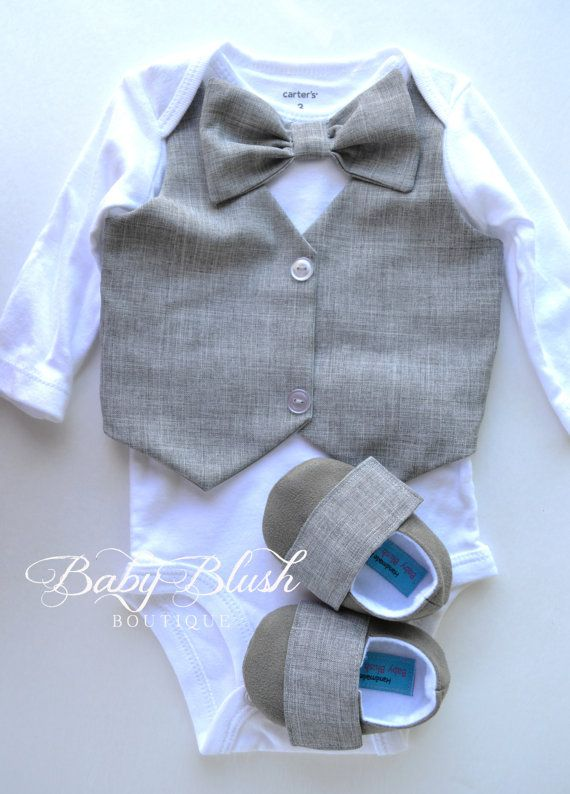 Grey Vest Bow tie Baby Boy Outfit Photo Prop by babyblushboutique
