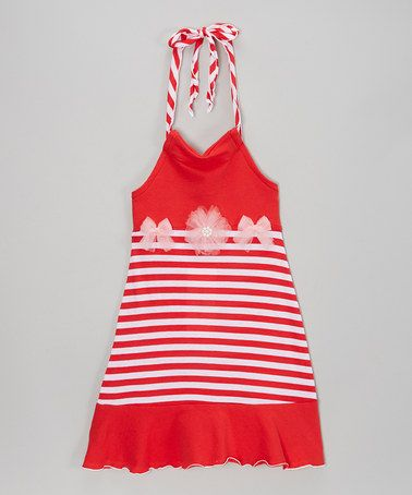 Another great find on #zulily! Red & Pink Stripe Halter Dress - Toddler & Girls #zulilyfinds $24.99