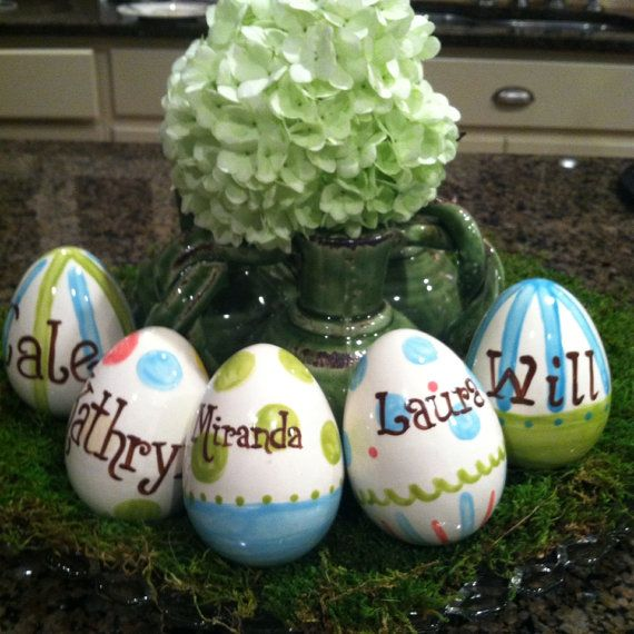 Personalized Ceramic Easter Eggs in Your by NatalieJCollection