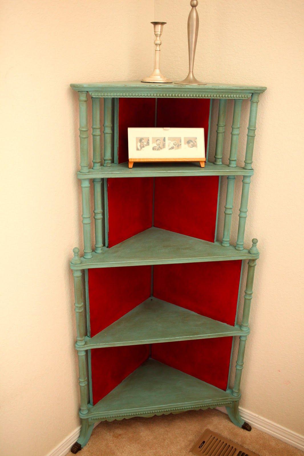 Handmade Mondays Red Aqua Corner Bookshelf