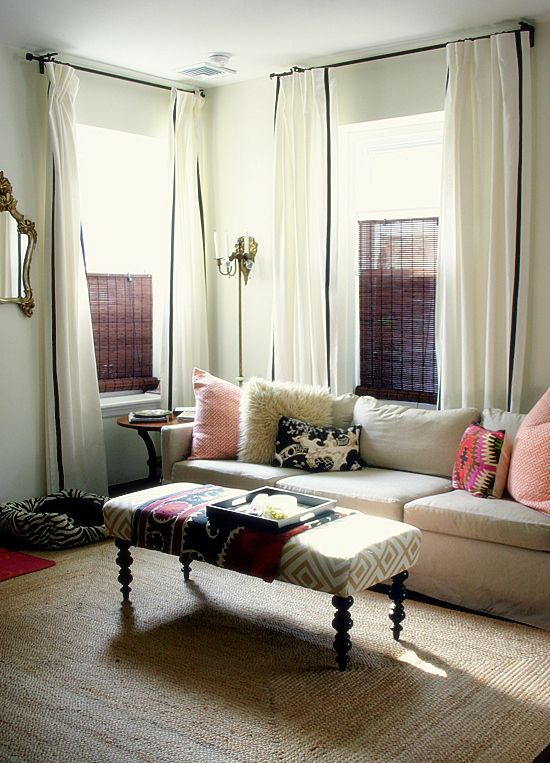 Living Room With Tall White Curtains