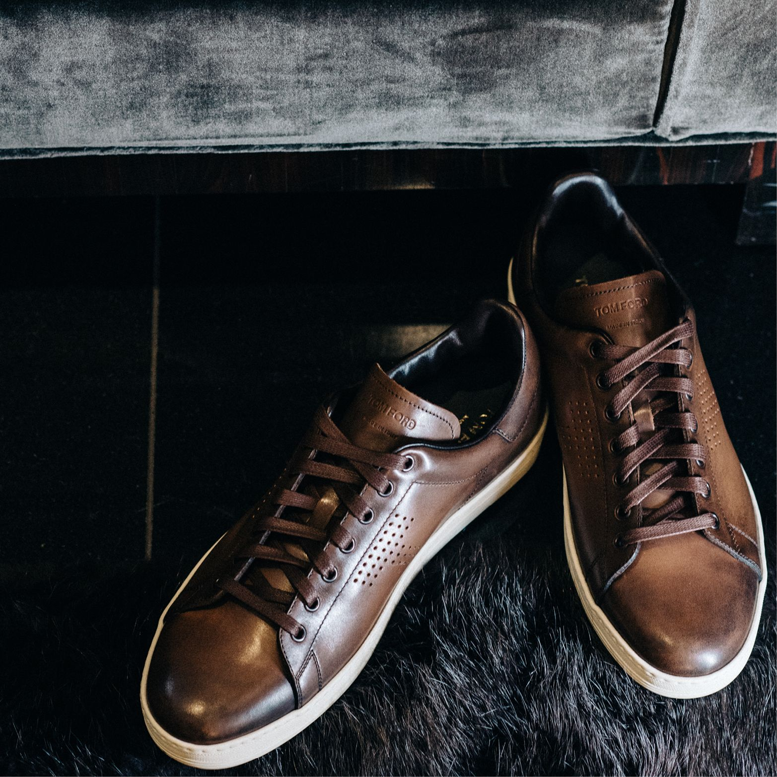 ea9cfb5c789 Gift him the TOM FORD Warwick sneakers in burnished leather.  TOMFORD   TFGIFTS
