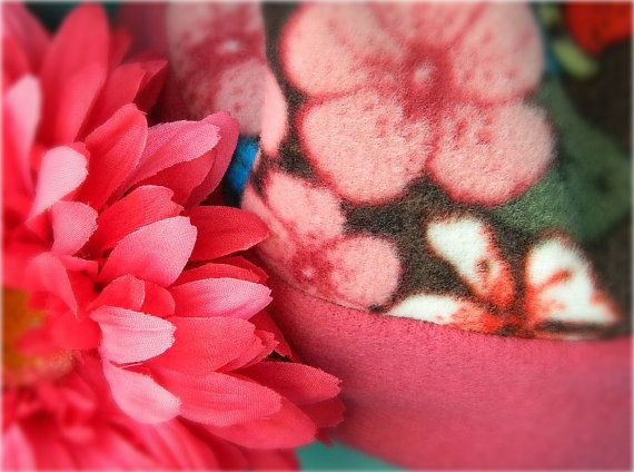 Soft Fleece Hat in pink and floral for by MelsMarvelousDesign, $14.00