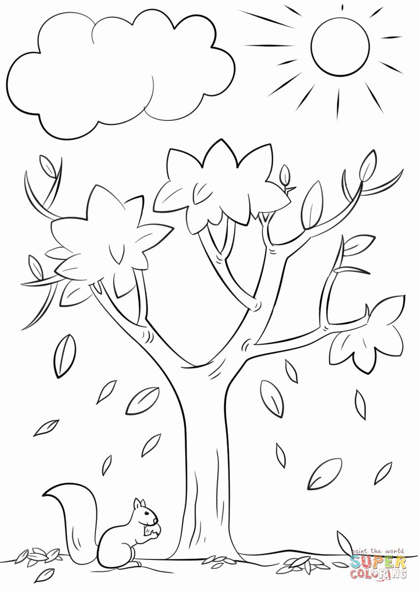 Fall Tree Coloring Page Fresh Autumn Tree Coloring Page in