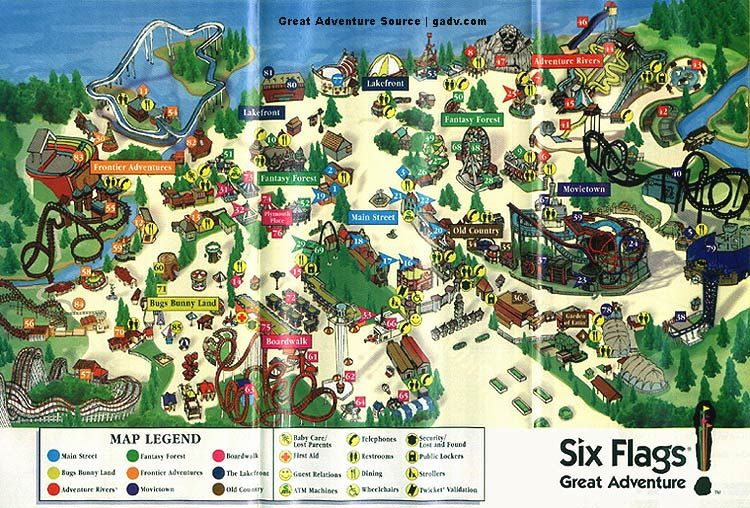 Six Flags Great Adventure Six Flags Great Adventure Adventure Map Greatest Adventure