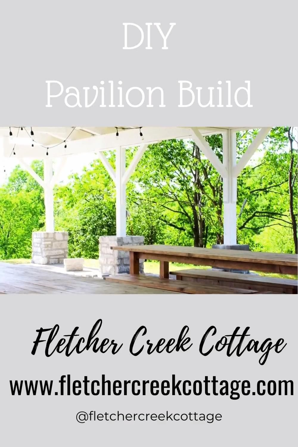 We have been busy here at Fletcher Creek Cottage and we've been turning our backyard into an oasis by building a DIY Pavilion!!!  Follow along as we tackle DIY projects together on the blog www.fletchercreekcottage.com or @fletchercreekcottage for day to day DIY fun!!!   #diy #diybuild #building #homeprojects #diyprojects #husbandandwifeteam #diyblog