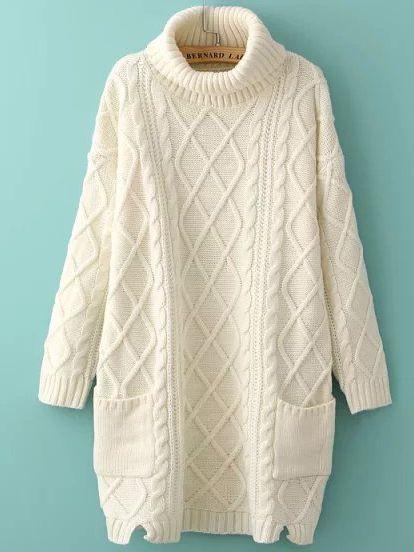 41af276dfae62c Beige High Neck Diamond Patterned Pockets Sweater
