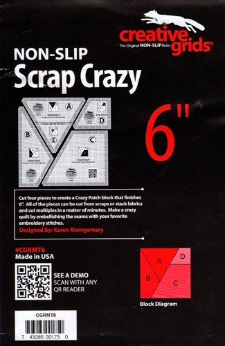 Creative Grids Non-Slip Scrap Crazy 6 Template Ruler Set Quilts