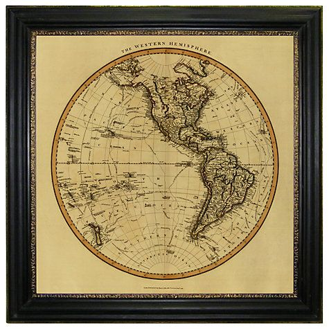 Brookpace vintage maps collection western hemisphere framed print brookpace vintage maps collection western hemisphere framed print 91 x 91cm gumiabroncs Image collections