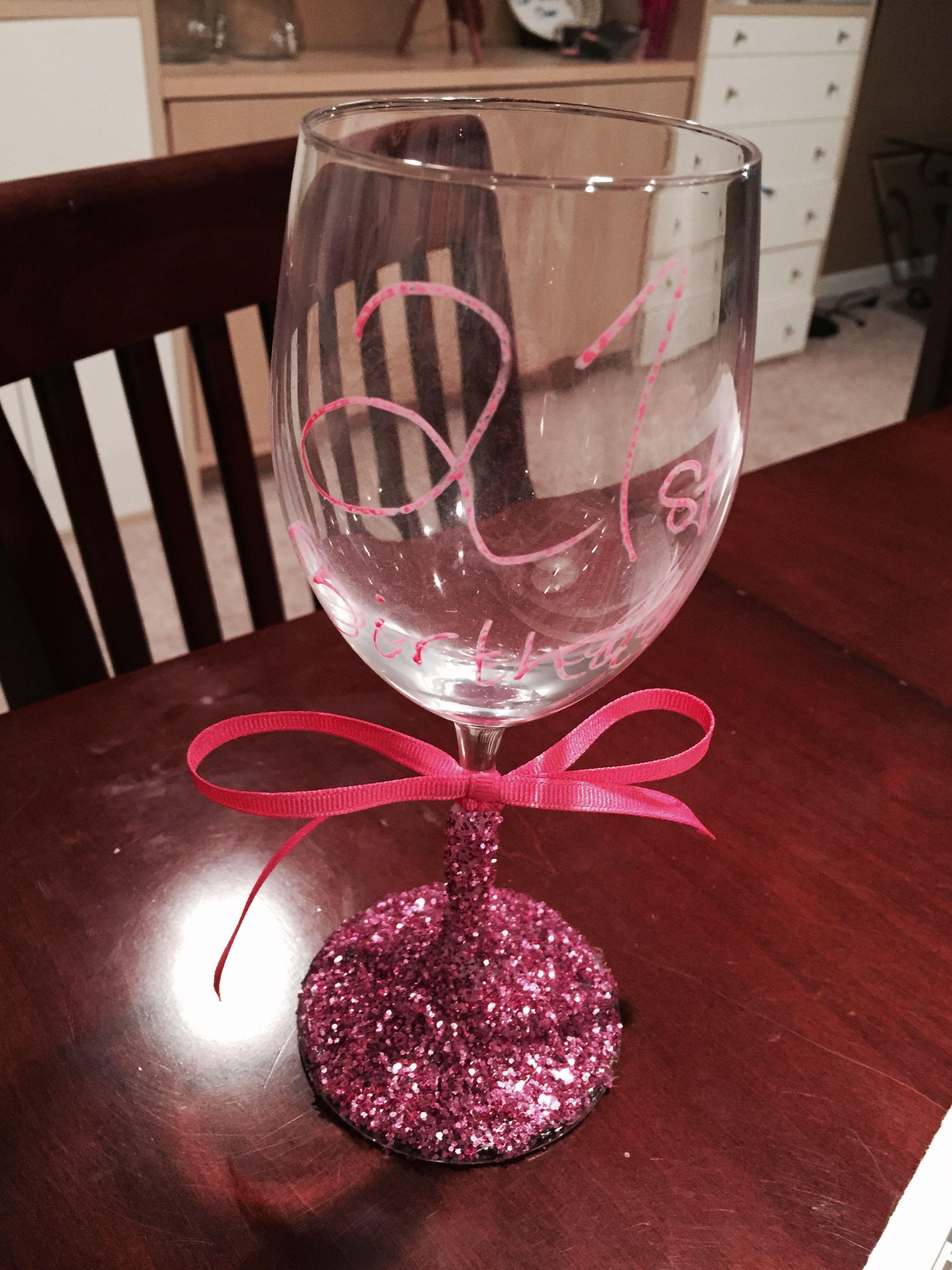 21st Birthday Wine Glass Diy 21st 21bday Cute Sparkly 21 Birthday Wine Glass Birthday Wine Birthday Wine Glass