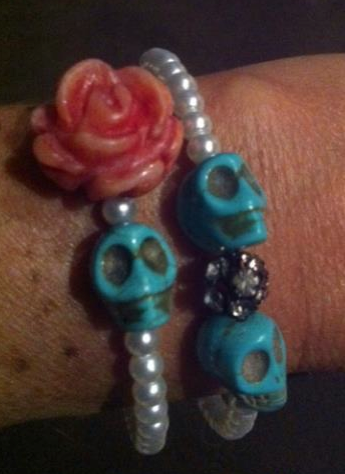 glass pearl beads with light salmon hand carved flower, rhinestone bead ball, turquoise skulls on memory wire~2 bracelets sold together or separately.     https://www.facebook.com/photo.php?fbid=436373466396520=a.432711736762693.101127.214078805292655=3