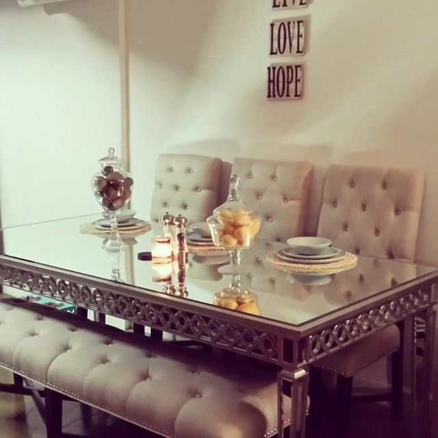 Faireytales dining room is chic with our sophie mirrored dining faireytales dining room is chic with our sophie mirrored dining table and rencort chairsbench watchthetrailerfo
