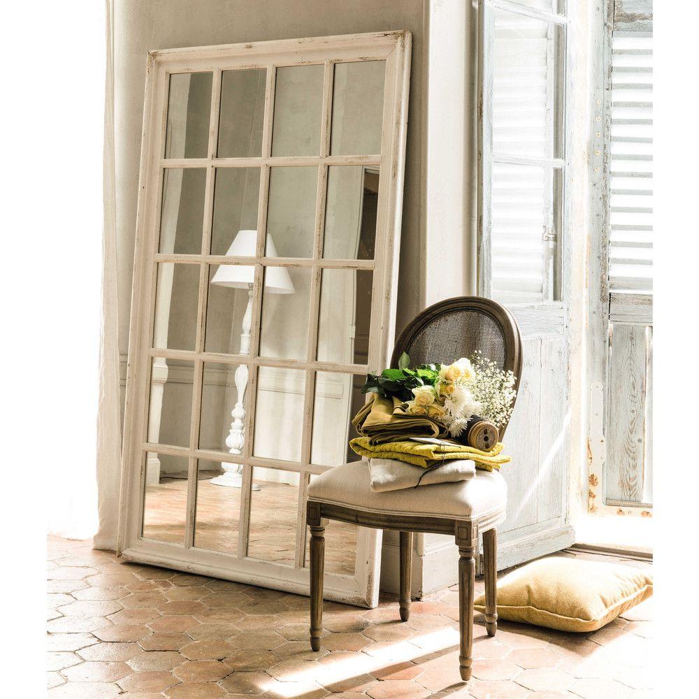 Espejo ventana con marco de madera blanca Al 175 cm