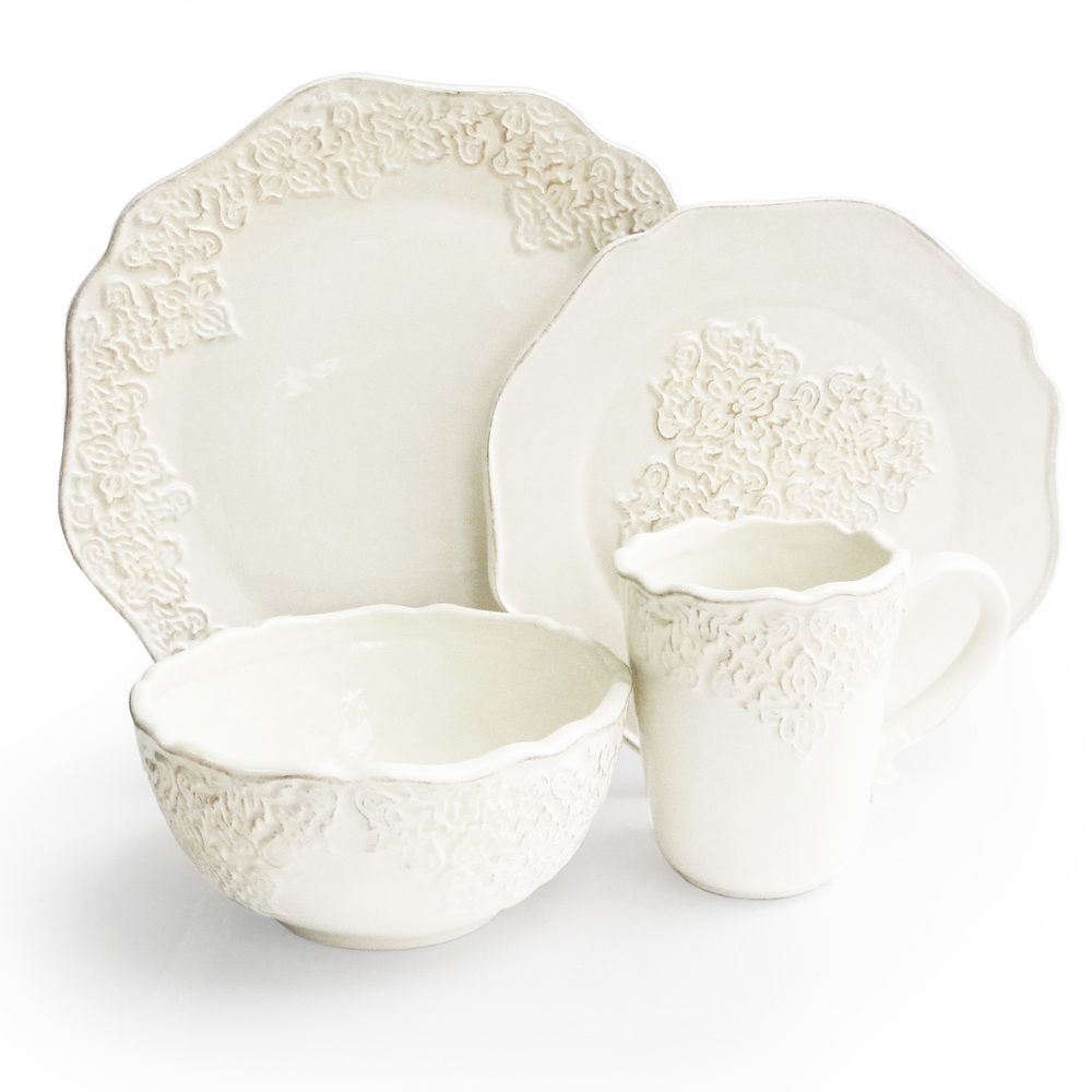Bianca Medallion White 16-piece Dinnerware Set | Overstock ...