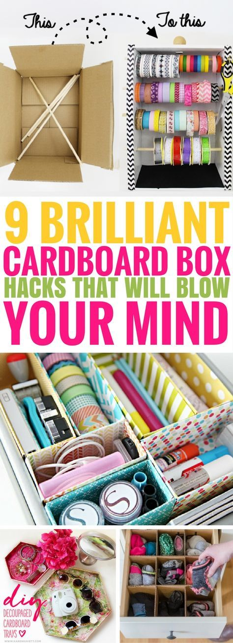 These cardboard box hacks that are seriously SO AWESOME. I'm so glad I came across these DIY Cardboard Box Ideas. So many fantastic ways to improve your home decor and have fun too!