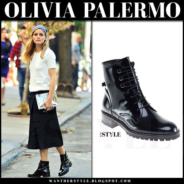 Olivia Palermo in black patent army