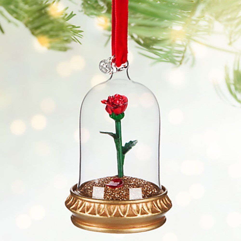 Disney Store Enchanted Rose Lightup Sketchbook Ornament Beauty Beast Belle  #disneyparks