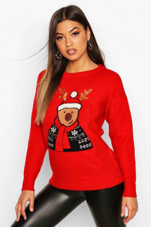 Sequin Detail Reindeer Christmas Jumper boohoo in 2020