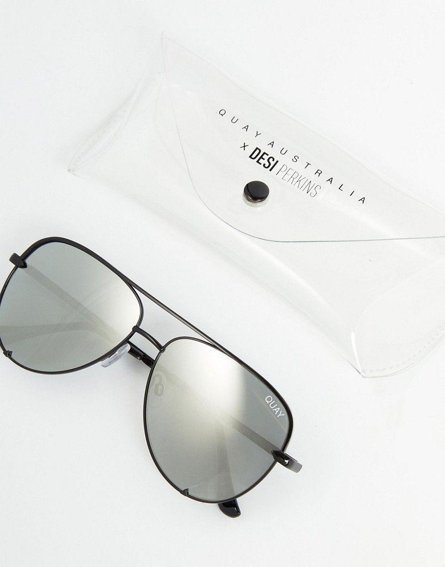 1e8fbf6a05 Quay Australia X Desi High Key Mini Aviator Sunglasses In Black Silver