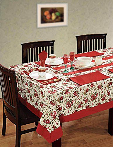 Captivating Colorful Multicolor Cotton Spring Floral Tablecloths Tables 60 X 84 Inches,  Maroon Border ShalinIndia Http