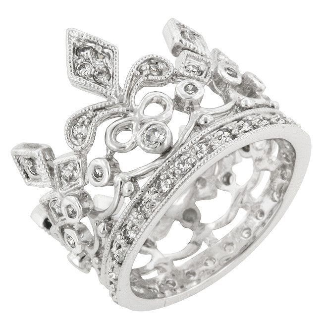 Three Graduated Clear Cubic Zirconia inlay Circle Ring Rhodium Plated Sterling Silver