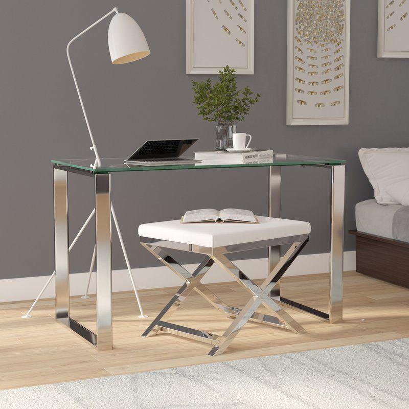 Arciniega Glass Desk In 2020 Glass Desk Desk Baby Furniture Plans