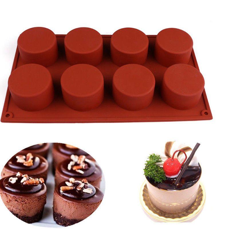 8 Cavity Round Silicone Cake Pan Mold Soap Cake Bread Cupcake Diy