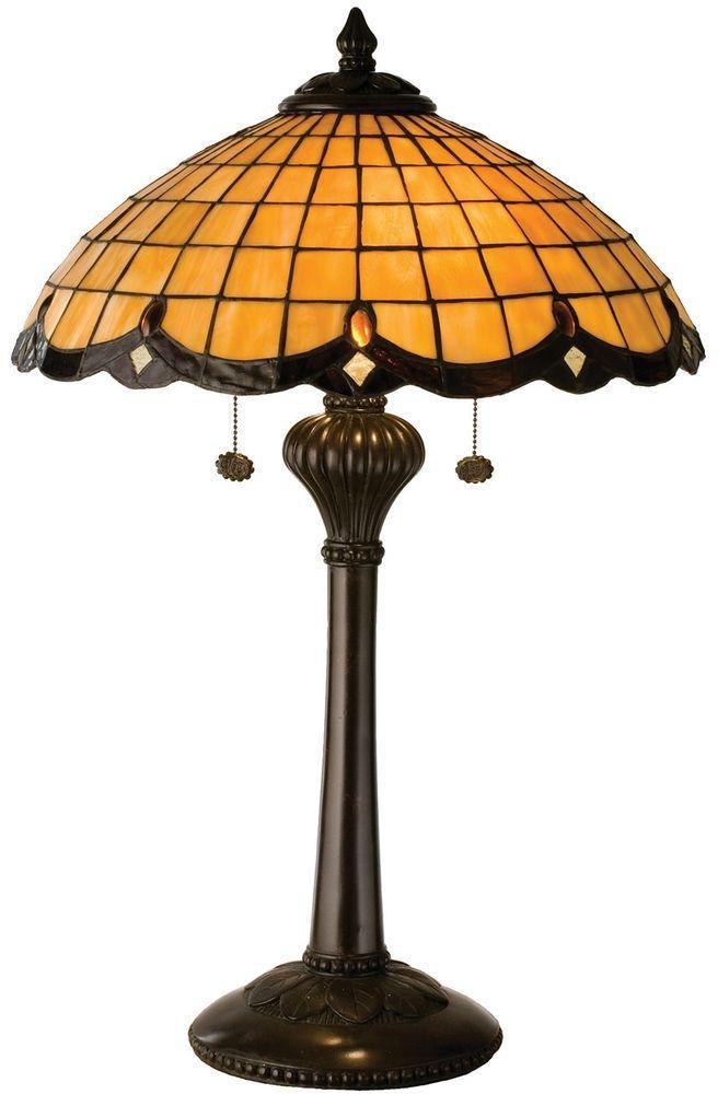 Meyda Tiffany 2 Light Elan Table Lamp Honey Wheat Art Glass W Rootbeer Scallop Meyda Art Glass Table Lamp Lamp Table Lamp