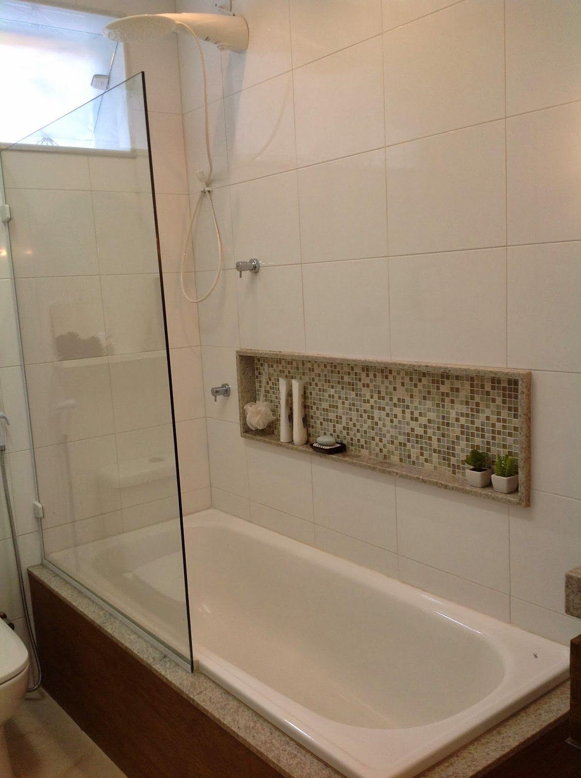 meio box, banheira e o porta shampoo  banheiro  banheira  Pinterest  Port -> Planejamento De Banheiro Com Banheira