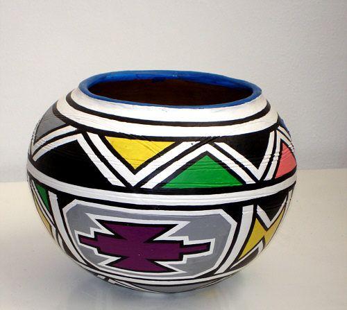 Painted clay Beer Pot - Esther Mahlangu in 2019   African ...